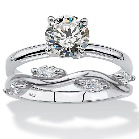Round and Marquise-Cut Cubic Zirconia 2-Piece Solitaire and Vine Ring Wedding Set 1.48 TCW in Sterling Silver at PalmBeach Jewelry