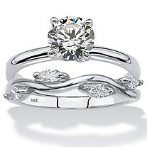Round and Marquise-Cut Cubic Zirconia 2-Piece Solitaire and Vine Ring Wedding Set 1.48 TCW in Sterling Silver