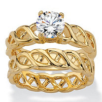 Round Cubic Zirconia 2-Piece Braided Link Wedding Ring Set 1.08 TCW 14k Yellow Gold-Plated