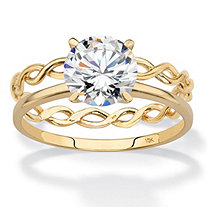 Round Cubic Zirconia 2-Piece Solitaire and Twisted Link Wedding Ring Set 2 TCW in Solid 10k Yellow Gold