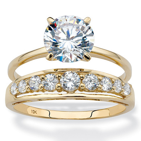 Round Cubic Zirconia 2-Piece Solitaire and Channel-Set Bridal Ring Set 2.93 TCW in Solid 10k Yellow Gold at PalmBeach Jewelry