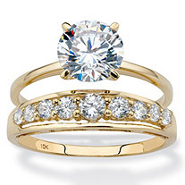 Round Cubic Zirconia 2-Piece Solitaire and Channel-Set Wedding Ring Set 2.93 TCW in Solid 10k Yellow Gold
