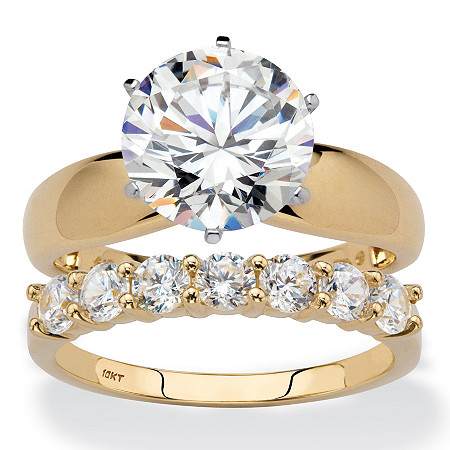 Round Cubic Zirconia 2-Piece Solitaire and Prong-Set Wedding Ring Set 4.20 TCW in Solid 10k Yellow Gold at PalmBeach Jewelry