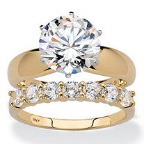 Round Cubic Zirconia 2-Piece Solitaire and Prong-Set Wedding Ring Set 4.20 TCW in Solid 10k Yellow Gold