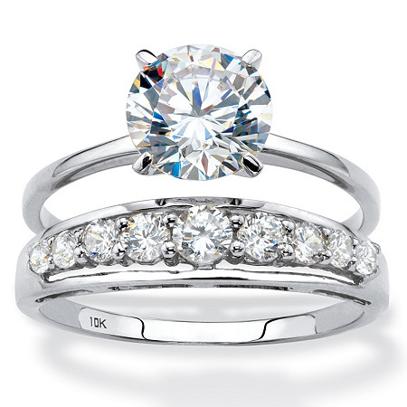 Round Cubic Zirconia 2-Piece Solitaire and Channel-Set Wedding Ring Set 2.93 TCW in Solid 10k White Gold at PalmBeach Jewelry