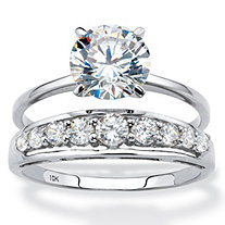 Round Cubic Zirconia 2-Piece Solitaire and Channel-Set Wedding Ring Set 2.93 TCW in Solid 10k White Gold