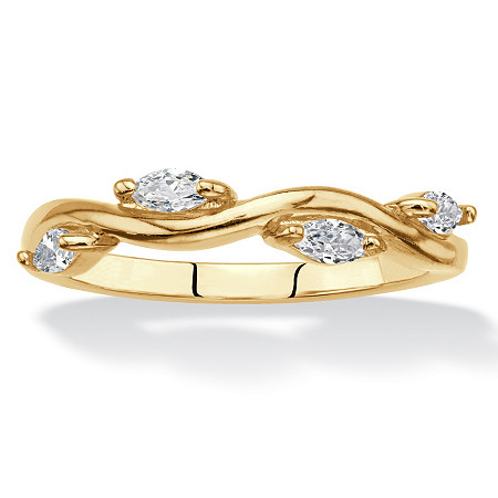 Marquise-Cut Cubic Zirconia Twisted Vine Ring .40 TCW in 18k Yellow Gold over Sterling Silver at PalmBeach Jewelry