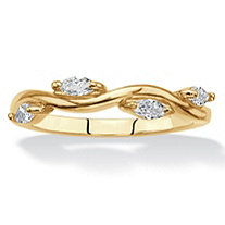 Marquise-Cut Cubic Zirconia Twisted Vine Ring .40 TCW 18k Gold-Plated