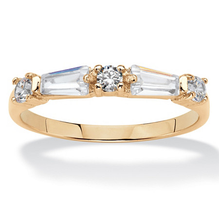 Round and Baguette Cubic Zirconia Ring .56 TCW 14k Yellow Gold-Plated at PalmBeach Jewelry