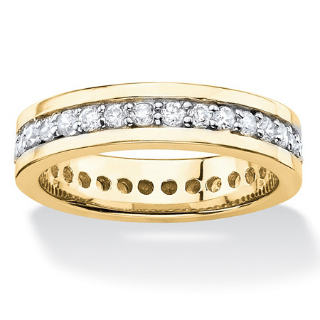 Round Cubic Zirconia Channel-Set Eternity Band .80 TCW 14k Yellow Gold-Plated at PalmBeach Jewelry