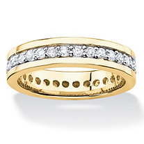 Round Cubic Zirconia Channel-Set Eternity Band .80 TCW 14k Yellow Gold-Plated