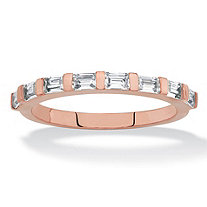 Baguette-Cut Cubic Zirconia Channel-Set Stack Ring .80 TCW Rose Gold-Plated