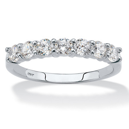 Round Cubic Zirconia Single Row Band .70 TCW in Solid 10k White Gold at PalmBeach Jewelry