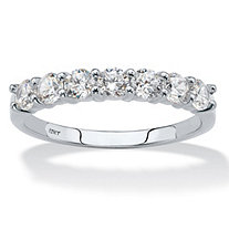 Round Cubic Zirconia Single Row Band .70 TCW in Solid 10k White Gold