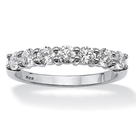 Round Cubic Zirconia Wedding Anniversary Band Ring .70 TCW in Platinum over Sterling Silver at PalmBeach Jewelry