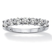 Round Cubic Zirconia Wedding Anniversary Band Ring .70 TCW in Platinum over Sterling Silver