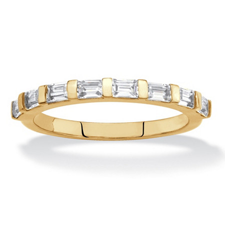 Baguette-Cut White Cubic Zirconia Stackable Ring .80 TCW 18k Gold-Plated at PalmBeach Jewelry