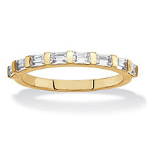 Baguette-Cut White Cubic Zirconia Stackable Ring .80 TCW 18k Gold-Plated