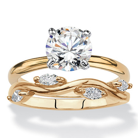 Round Cubic Zirconia 2-Piece Solitaire and Vine Wedding Ring Set 2.28 TCW 18k Yellow Gold-Plated at PalmBeach Jewelry