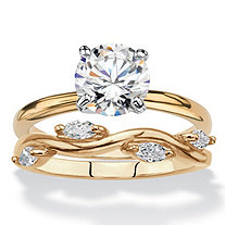 Round Cubic Zirconia 2-Piece Solitaire and Vine Wedding Ring Set 2.28 TCW 18k Yellow Gold-Plated