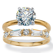 Round Cubic Zirconia 2-Piece Solitaire and Baguette Wedding Ring Set 2.44 TCW 14k Yellow Gold-Plated