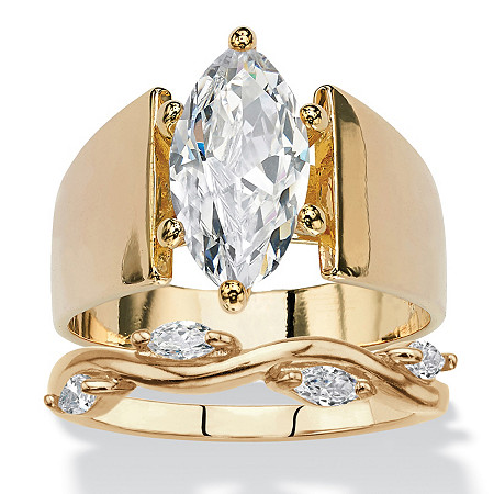 Round Cubic Zirconia 2-Piece Wide Band Solitaire and Vine Wedding Ring Set 2.88 TCW 14k Yellow Gold-Plated at PalmBeach Jewelry