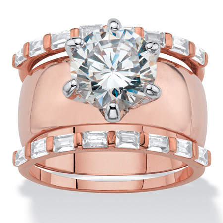 Round Cubic Zirconia 3-Piece Solitaire and Bar-Set Wedding Ring Set 5.60 TCW Rose Gold-Plated at PalmBeach Jewelry
