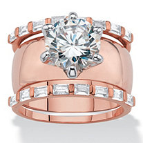 Round Cubic Zirconia 3-Piece Solitaire and Bar-Set Wedding Ring Set 5.60 TCW Rose Gold-Plated