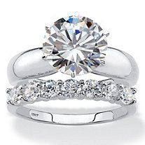 Round Cubic Zirconia 2-Piece Solitaire and Prong-Set Wedding Ring Set 4.20 TCW in Solid 10k White Gold