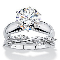 Round and Marquise Cubic Zirconia 2-Piece Soltaire and Twisted Vine Bridal Ring Set 3.90 TCW in Sterling Silver