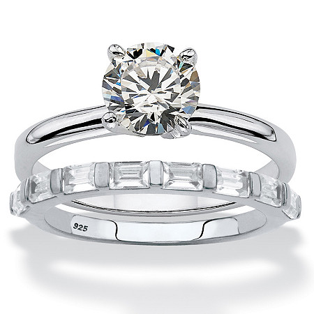 Round and Baguette-Cut Cubic Zirconia 2-Piece Soltaire Bridal Ring Set 1.88 TCW in Sterling Silver at PalmBeach Jewelry