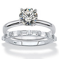 Round and Baguette-Cut Cubic Zirconia 2-Piece Soltaire Bridal Ring Set 1.88 TCW in Sterling Silver