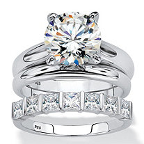 Round Cubic Zirconia 3-Piece Solitaire Bridal Anniversary Ring Set 4.12 TCW in Platinum Over Sterling Silver