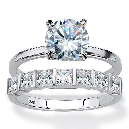 Round Cubic Zirconia 2-Piece Solitaire Bridal Ring Set 3.82 TCW in Platinum Over Sterling Silver at PalmBeach Jewelry