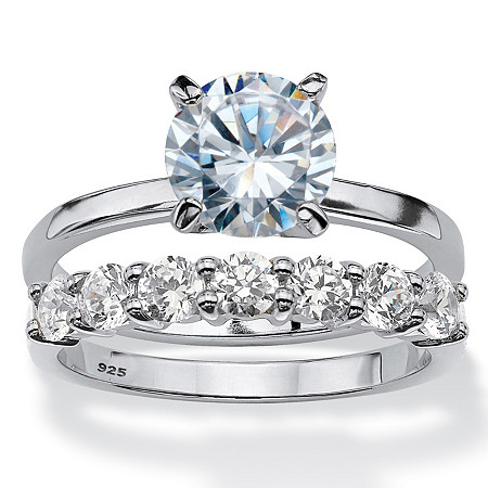 Round Cubic Zirconia 2-Piece Solitaire Bridal Ring Set 2.70 TCW in Platinum Over Sterling Silver at PalmBeach Jewelry