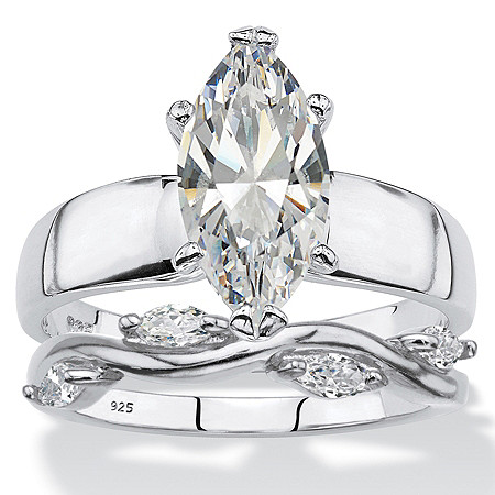 Marquise-Cut Cubic Zirconia 2-Piece Solitaire and Vine Bridal Ring Set 2.51 TCW in Sterling Silver at PalmBeach Jewelry