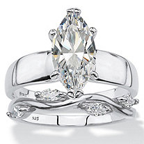 Marquise-Cut Cubic Zirconia 2-Piece Solitaire and Vine Bridal Ring Set 2.51 TCW in Sterling Silver