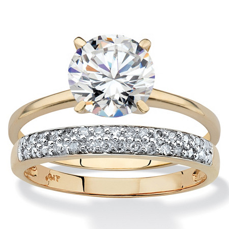 Round Cubic Zirconia and Diamond Accent 2-Piece Wedding Ring Set 2 TCW in Solid 10k Yellow Gold at PalmBeach Jewelry