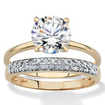 Round Cubic Zirconia and Diamond Accent 2-Piece Wedding Ring Set 2 TCW in Solid 10k Yellow Gold