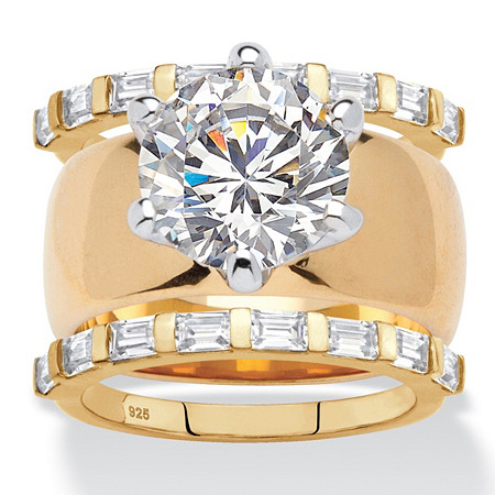 Round Cubic Zirconia 3-Piece Solitaire Wide Band Bridal Ring Set 4.80 TCW 18k Gold-Plated at PalmBeach Jewelry