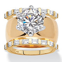 Round Cubic Zirconia 3-Piece Solitaire Wide Band Bridal Ring Set 4.80 TCW 18k Gold-Plated