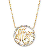 "Diamond Accent ""Mom"" Pendant Necklace (18mm) in 14k Yellow Gold over Sterling Silver 18"""