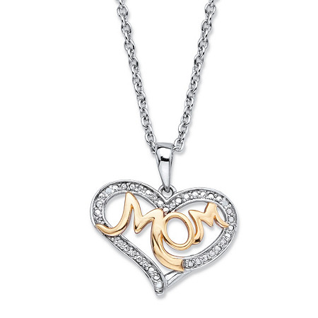 "Diamond Accent Two-Tone ""Mom"" Heart Pendant (20mm) Necklace in 14k Gold over Sterling Silver 18"" - 20"" at PalmBeach Jewelry"