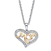 "Diamond Accent Two-Tone ""Mom"" Heart Pendant (20mm) Necklace in 14k Gold over Sterling Silver 18"" - 20"""