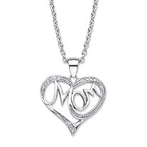"Diamond Accent ""Mom"" Heart Pendant (20mm) Necklace in Sterling Silver 18""-20"""