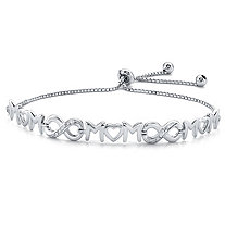 "Diamond Accent ""Mom"" Infinity Drawstring Slider Bracelet in Sterling Silver 10"" Adjustable"