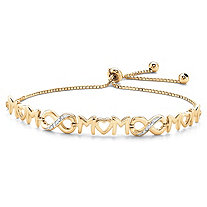 "Diamond Accent ""Mom"" Infinity Drawstring Slider Bracelet in 14k Yellow Gold over Sterling Silver 10"" Adjustable"
