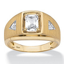 Men's Emerald-Cut Created White Sapphire Ring with Diamond Accents 1.15 TCW in Solid 10k Yellow Gold