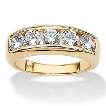 Men's Round Cubic Zirconia 5-Stone Band 2.50 TCW in Solid 10k Yellow Gold