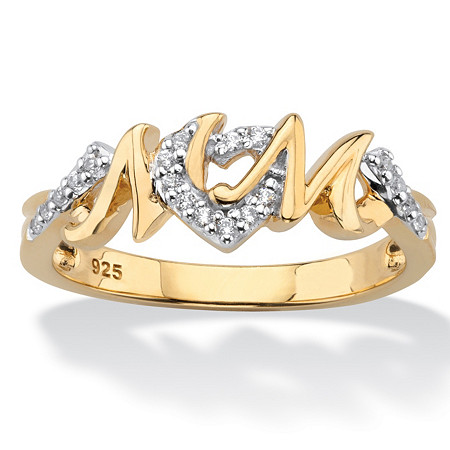 "Round Diamond ""Mom"" Hearts Ring 1/10 TCW in 18k Yellow Gold Over Sterling Silver at PalmBeach Jewelry"